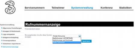 Rufnummernsignalisierung 3Business Telepartner