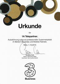 Zertifikat Hutchison Drei 2015