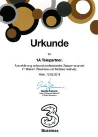Zertifikat Huchison Drei 2018