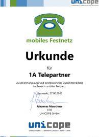 Zertifikat unicope 2017